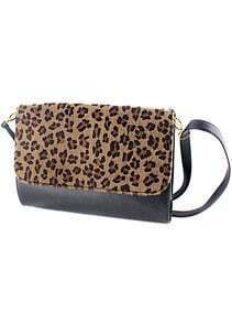 Black Contrast Leopard PU Leather Shoulder Bag