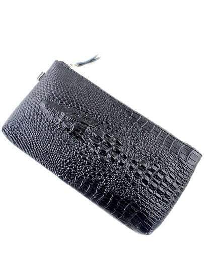 Black Crocodile Pattern Clutches Bag