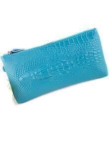 Blue Crocodile Pattern Clutches Bag