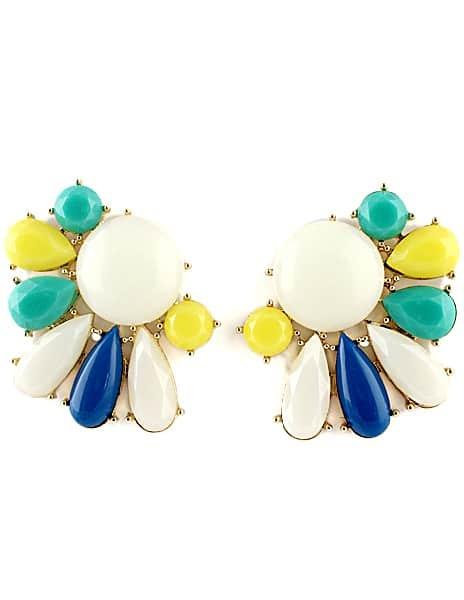 Multi Gemstone Gold Hollow Stud Earrings