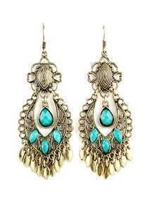 Blue Gemstone Retro Gold Tassel Dangle Earrings
