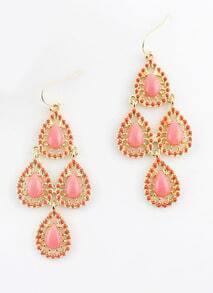Pink Gemstone Gold Drop Dangle Earrings