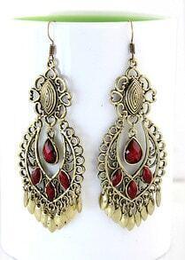 Red Gemstone Retro Gold Tassel Dangle Earrings