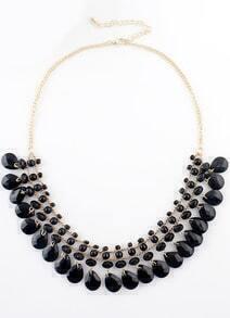 Black Bead Tassel Gold Chain Necklace