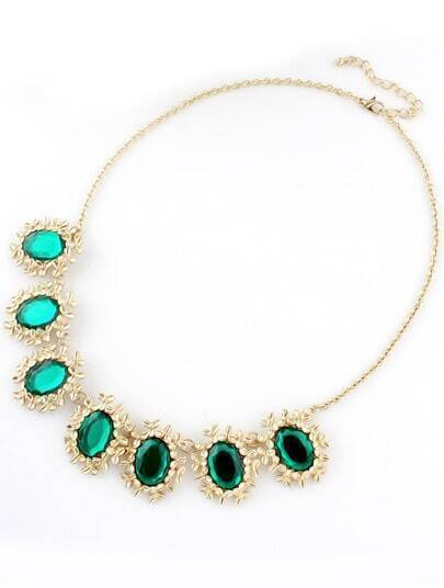 Green Gemstone Gold Flower Chain Necklace