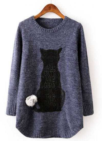 Blue Long Sleeve Cat Pattern Twisted Ball Sweater