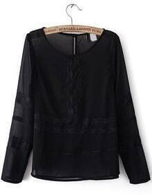 Black Long Sleeve Contrast Lace Sheer Chiffon Blouse