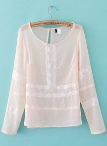 Pink Long Sleeve Contrast Lace Sheer Chiffon Blouse