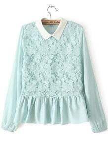 Green Lapel Long Sleeve Ruffle Lace Blouse