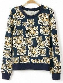 Navy Long Sleeve Tigers Print Sweatshirt