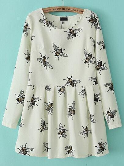 White Long Sleeve Bee Fox Print Pleated Dress