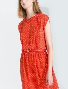 Orange Short Sleeve Polka Dot Loose Dress