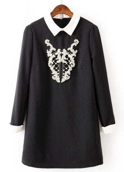 Black Contrast Collar Long Sleeve Bead Loose Dress