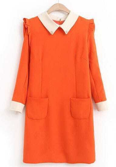 Orange Contrast Lapel Ruffle Slim Pockets Dress