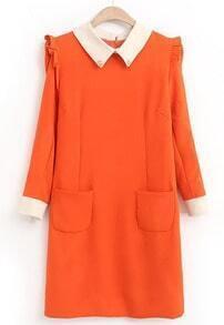 Orange Contrast Lapel Ruffle Slim Pockets Dress