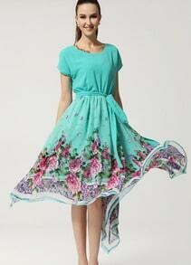 Blue Floral Pattern Belt Asymmetrical Dress