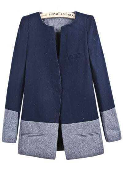 Navy Long Sleeve Contrast Grey Pockets Coat