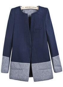 Navy Long Sleeve Contrast Grey Pockets Coat