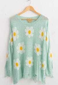 Light Blue Beige Long Sleeve Daisy Ripped Hem Sweater