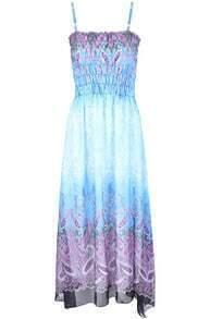 Blue Spaghetti Strap Cashews Print Full Length Dress