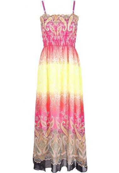Yellow Spaghetti Strap Cashews Print Full Length Dress