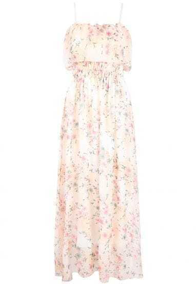 Yellow Spaghetti Strap Floral Chiffon Long Dress