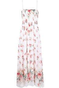 Apricot Spaghetti Strap Floral Full Length Dress