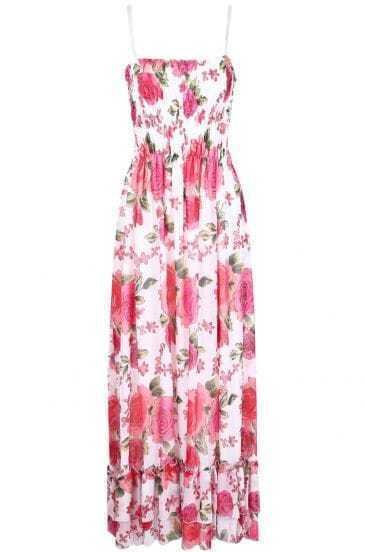 White Red Spaghetti Strap Metallic Yoke Floral Dress