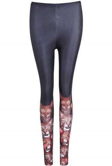 Black Skinny Cat Print Leggings
