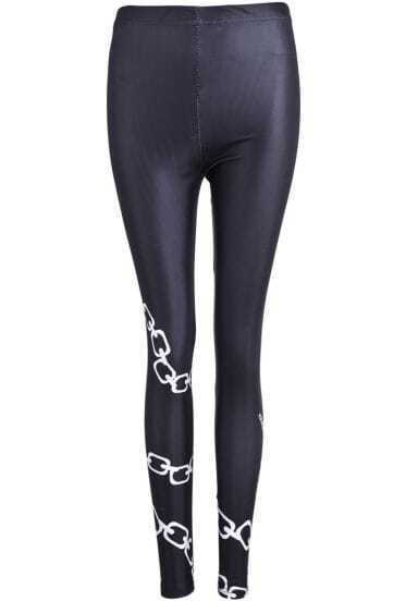Black Skinny Shackle Print Leggings