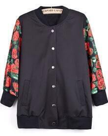 Black Contrast Floral Long Sleeve Tiger Embroidered Jacket