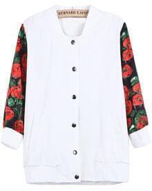 White Contrast Floral Long Sleeve Tiger Embroidered Jacket