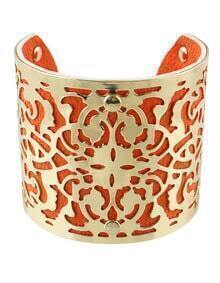 Gold Red Hollow Cuff Bracelet