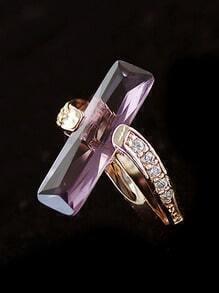 Purple Gemstone Gold Diamond Ring