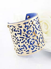 Gold Blue Hollow Cuff Bracelet