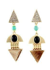 Gold Diamond Geometric Earrings