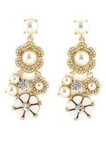 Gold Bead Diamond Flower Earrings