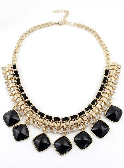 Black Gemstone Gold Diamond Chain Necklace
