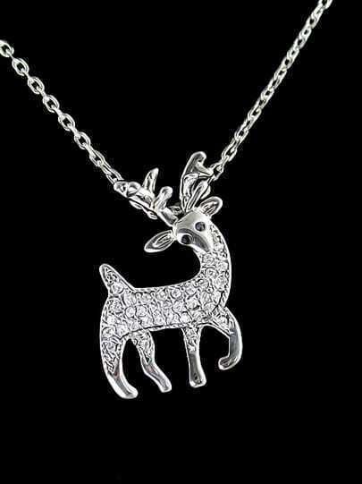 Silver Diamond Deer Chain Necklace