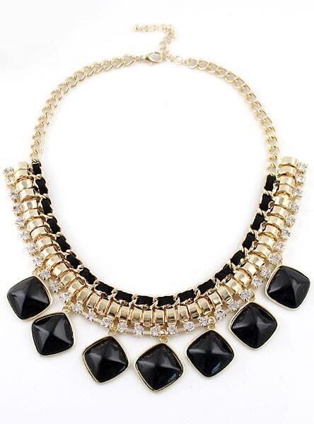 Black Gemstone Gold Diamond Chain Necklace Shein Sheinside