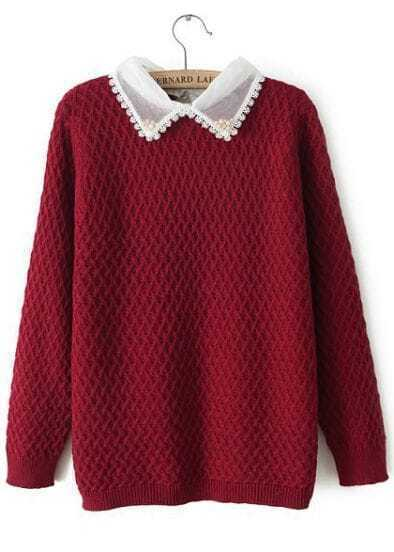 Wine Red Contrast Organza Lapel Bead Diamond Patterned Sweater