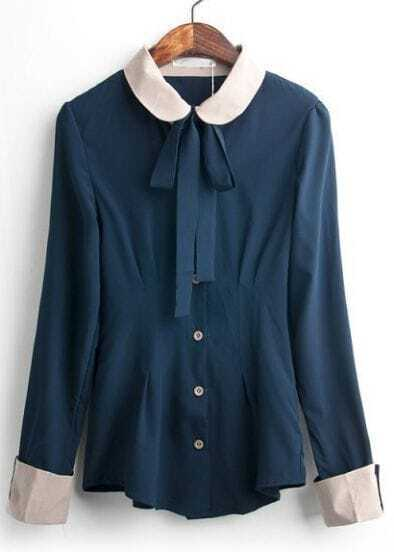 Blue Contrast Collar Long Sleeve Flange Blouse