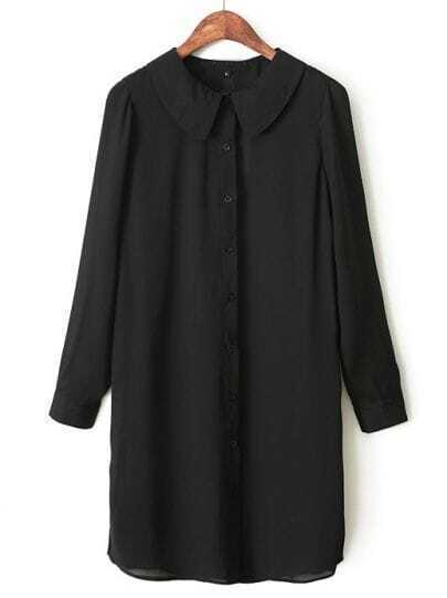 Black Lapel Long Sleeve Slim Chiffon Blouse