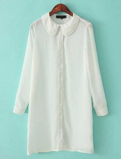 White Lapel Long Sleeve Slim Chiffon Blouse