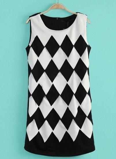 Black Sleeveless Diamond Print Slim Dress
