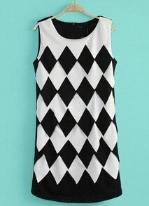 Black Sleeveless Diamond Print Slim Dress
