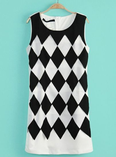 White Sleeveless Diamond Print Slim Dress
