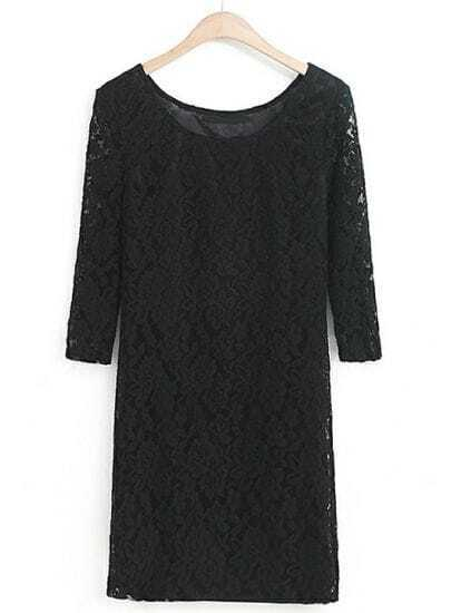 Black Half Sleeve Lace Bodycon Dress