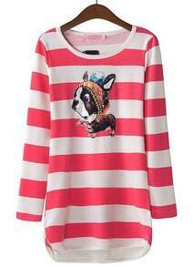 Red Long Sleeve Striped Rhinestone Dog Print T-Shirt