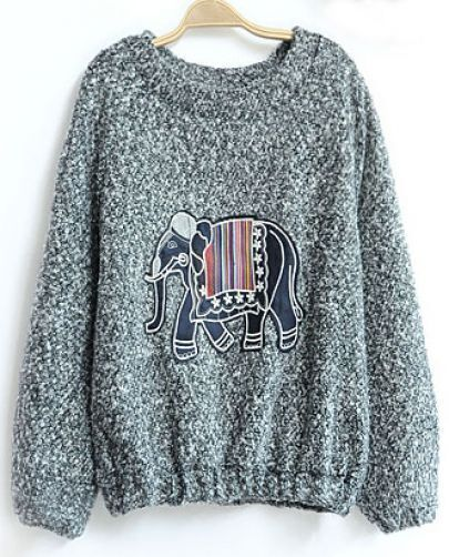 Grey Long Sleeve Elephant Pattern Sweatshirt